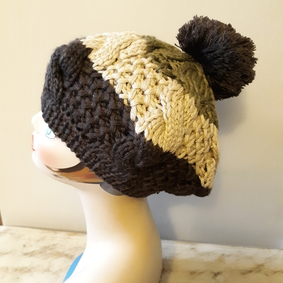 Vintage Earthy Brown Striped Knit Pom Pom Hat